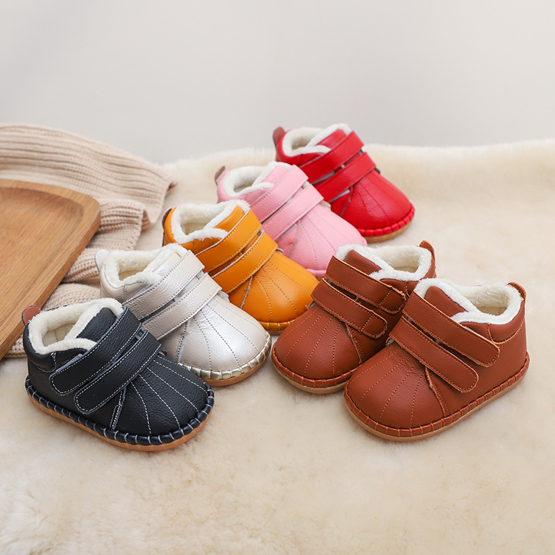 Winter Infant Toddler Boots Baby Girls Boys Snow Boots Soft Bottom Genuine Leather Warm Plush Outdoor Kids Children Shoes