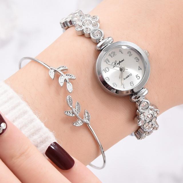 2 szt Zestaw kobiet klasyczne zegarki lśniące liście bransoletka kryształowa bransoletka Dial analogowe zegarki kwarcowe panie dziewczyny zegar prezent tanie tanio CN (pochodzenie) bez wodoodporności STOP Ukryte zapięcie Moda casual Cyfrowy NONE bez opakowania 22mm STAINLESS STEEL