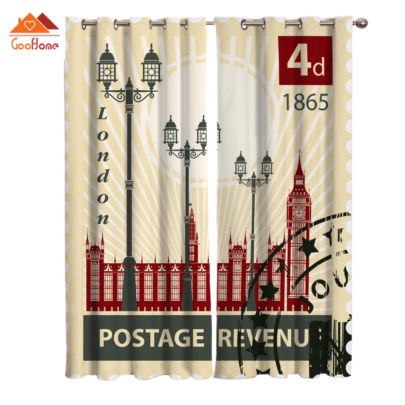 Vintage London Stamp Window Curtains Living Room Outdoor Fabric Drapes Curtain Home Decor