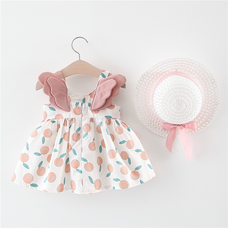 Baby Girls <font><b>Dresses</b></font> 2020 Summer New Baby <font><b>Dress</b></font> Hat <font><b>2</b></font> Piece Children's Clothes Suits Print Bow <font><b>Birthday</b></font> Party Princess <font><b>Dress</b></font> image