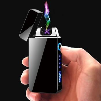 Elektryczny podwójny łuk zapalniczki USB wiatroszczelne bezpłomieniowe zapalniczki plazmowe palenie papierosów z LED wyświetlacz mocy mężczyźni gadżet prezenty tanie i dobre opinie CN (pochodzenie) Metal Lakier F13001517 Electric lighter Arc lighter Plasma lighter Usb lighter Windproof lighter Flameless lighter