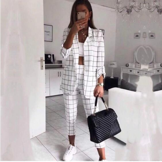 Office Lady Plaid Double Breaseted Work Pant Suits Notched Collar Blazers And Pants Women Autumn Two Piece Suits