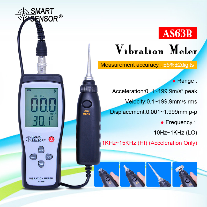 SMART SENSOR AS63B Split Type Vibration Meter 10HZ~1KHZ 0.1~199.9m/s Precision Vibration Measurer Tester Gauge Analyzer