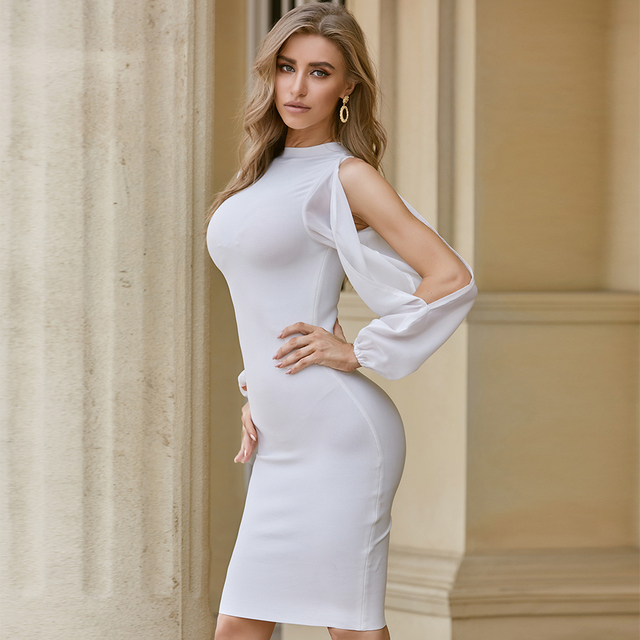 ADYCE 2021 New Autumn Women White Long Sleeve Bandage Dress Sexy Bodycon Mini Celebrity Runway Club Party Bandage Dress Vestidos 4