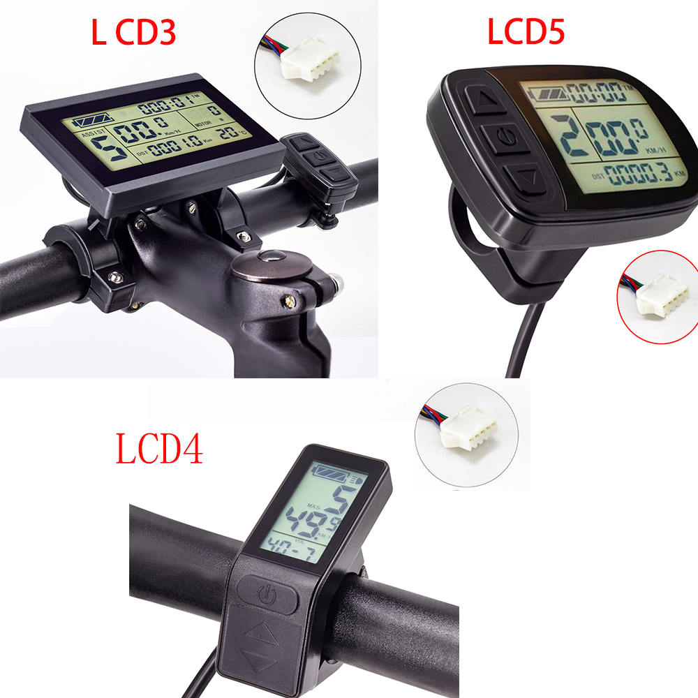 Electric Bike Display 36V 48V KT-LCD5 LCD4 LCD3 Display Black Control Panel LCD Display Ebike Parts For E Bike KT Controller