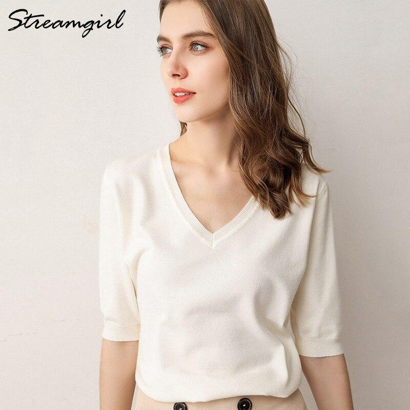 Women's Summer Blouse 2020 Plus Size Women Knitted Blouses Short Sleeve Ladies Tops V Neck Women White Blouse Summer Knitted Top