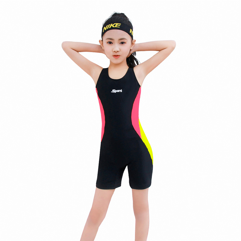 2019 New Style One-piece Long Legs Long Sleeve Boxer Sun-resistant Profession Learning Training Swimwear Middle And Large CHILDR