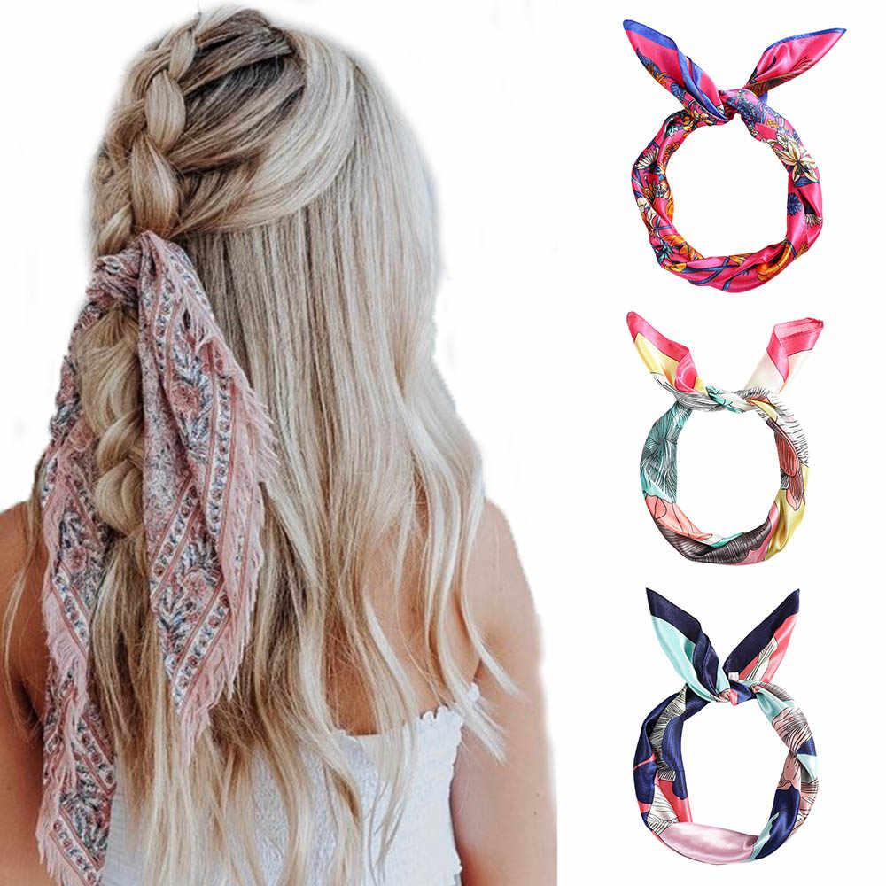 Haimeikang סאטן מודפס שיער צעיף כיכר בנדנות נשים שיער אביזרי Hairbands רך קיץ סרט