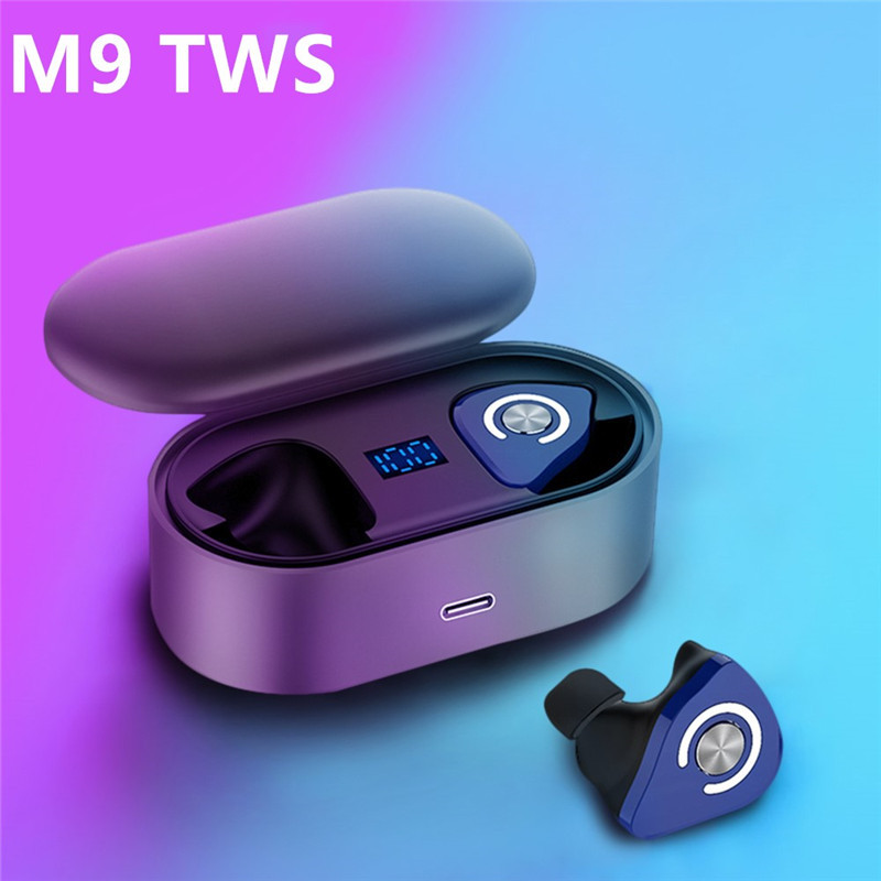 <font><b>M9</b></font> <font><b>TWS</b></font> <font><b>True</b></font> Wireless Earbuds Micro Earpiece Mini Twins Headset Stereo Ear Bluetooth Earphone Headphones with mic image
