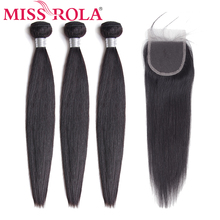 Miss Rola Hair Brazilian Straight Weave Bundles With Closure Natural Color 100% Human Extensions Non-Remy 8-26 inch
