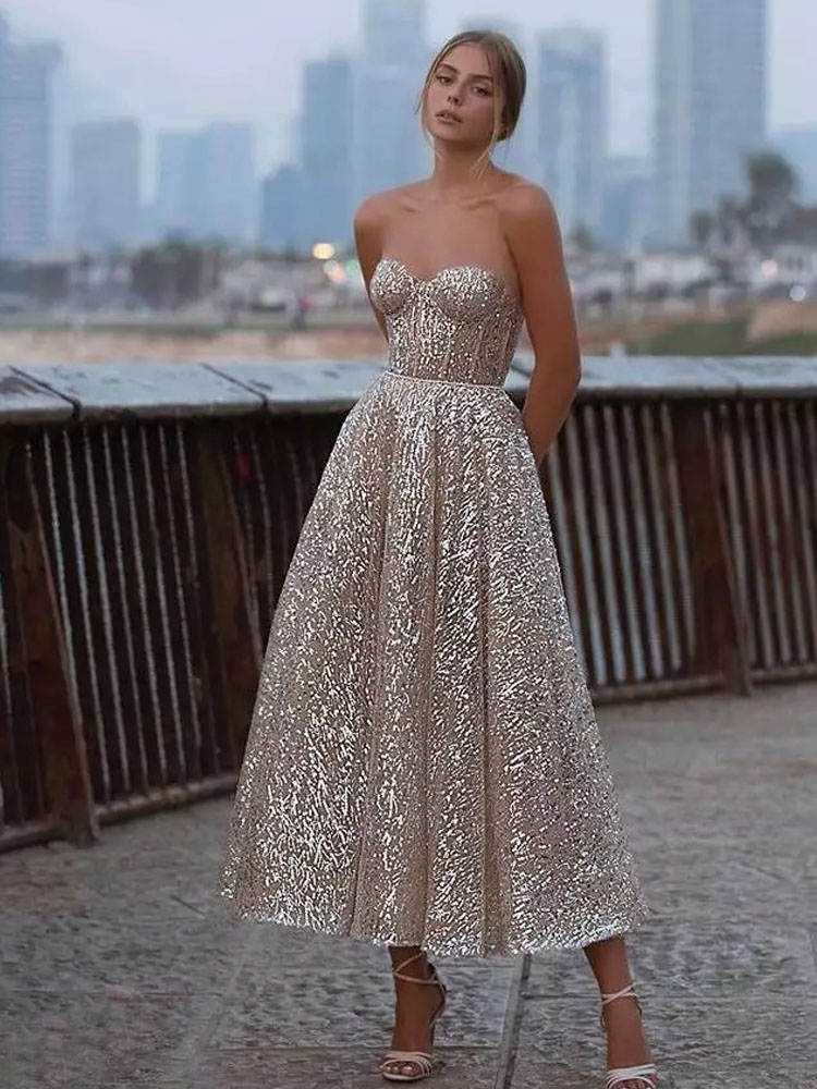 Wedding-Dress Formal-Dress Bridal-Gowns Glitter Sweetheart A-Line Backless Party Verngo