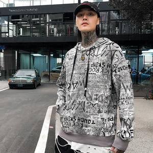 Image 4 - Männer Hip Hop Hoodie Sweatshirt Buchstaben Graffiti Streetwear Harajuku Pullover Hoodies 2019 Herbst Baumwolle Sweat Shirt Hipster Druck