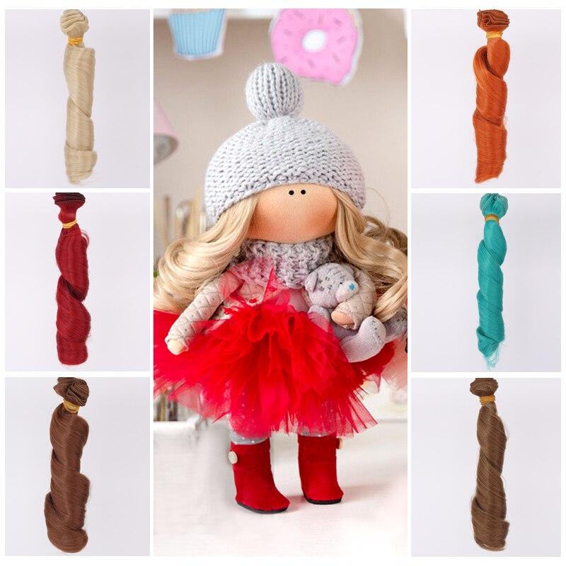 15*100cm locken Schraube Lockiges Haar Extensions für Alle Puppen DIY Haar Perücken Hitze Beständig Faser Haar Tressen puppe Zubehör spielzeug