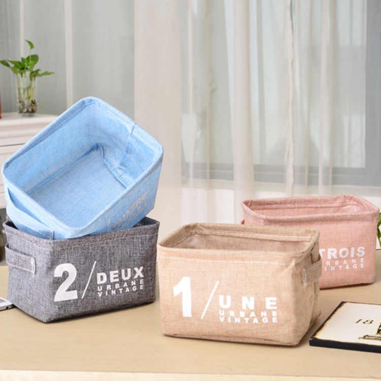 新スタイル収納バスケットデスクトップ破片収納バスケット新鮮な生地小籠収納ボックス牧歌的なスタイル