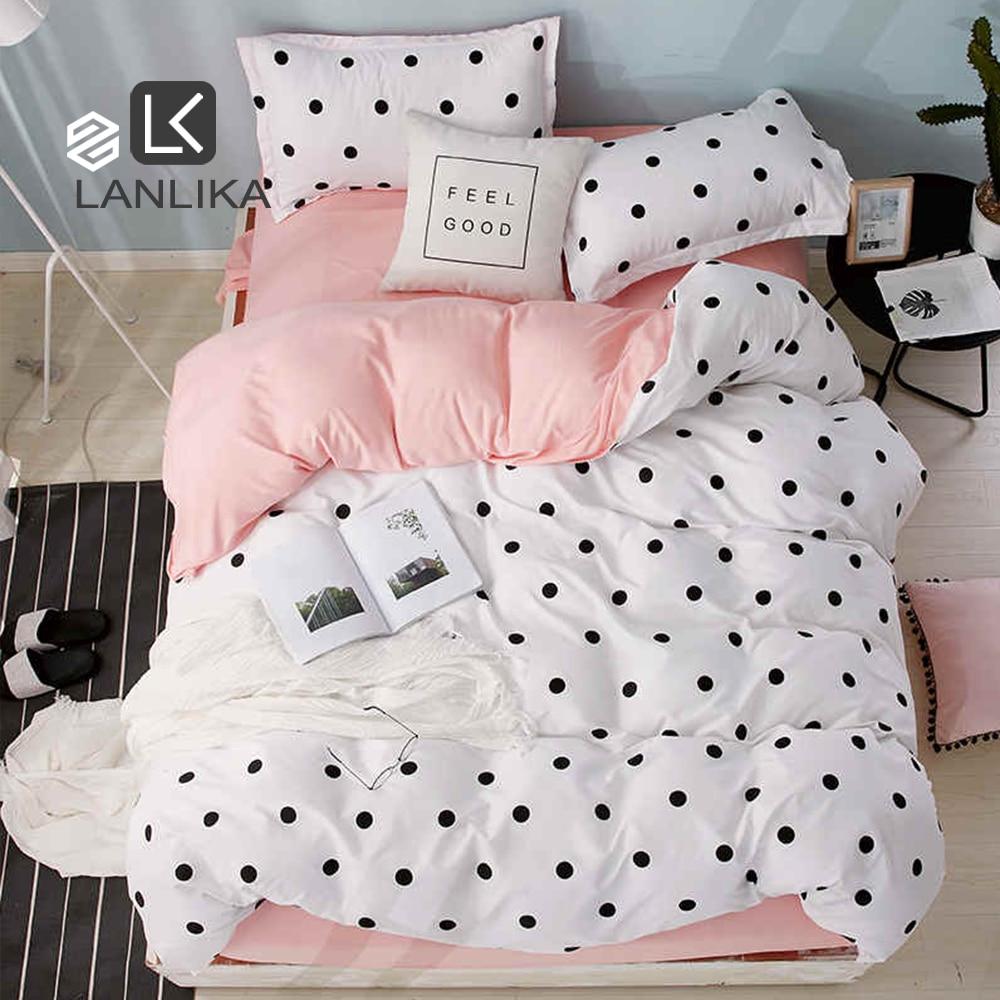 Lanlika Dot Art White Pink Bed Cover Set Decor Home Bedding Set Textile Bedroom Adult Girl Duvet Cover Flat Sheet Bed Linen Set