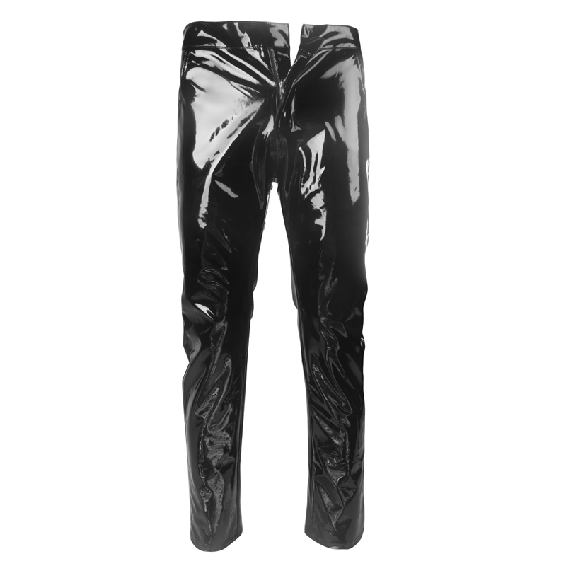 Mens Pants Trouser Clubwear Faux Leather Sexy Performance Bottoms Wet Look