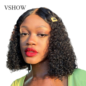 13x4 Water Wave Bob Wig 180 Density Remy Human Hair Bob Lace Front Wigs Pre Plucked With Baby Hair VSHOW Transparent Lace Wig(China)