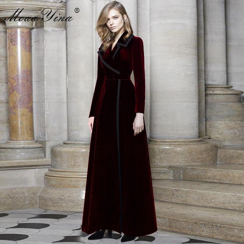 Image 3 - MoaaYina, модная ветровка, пальто, Осень зима, женское, длинный рукав, отложной воротник, бархатная ветровка, пальтоПлащи и тренчи   -