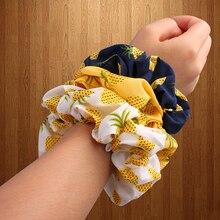 Корейский женский ободок для волос для девочек, полосатые женские резинки для волос, конский хвост, Женский держатель, веревка с ананасовым принтом, аксессуары для волос