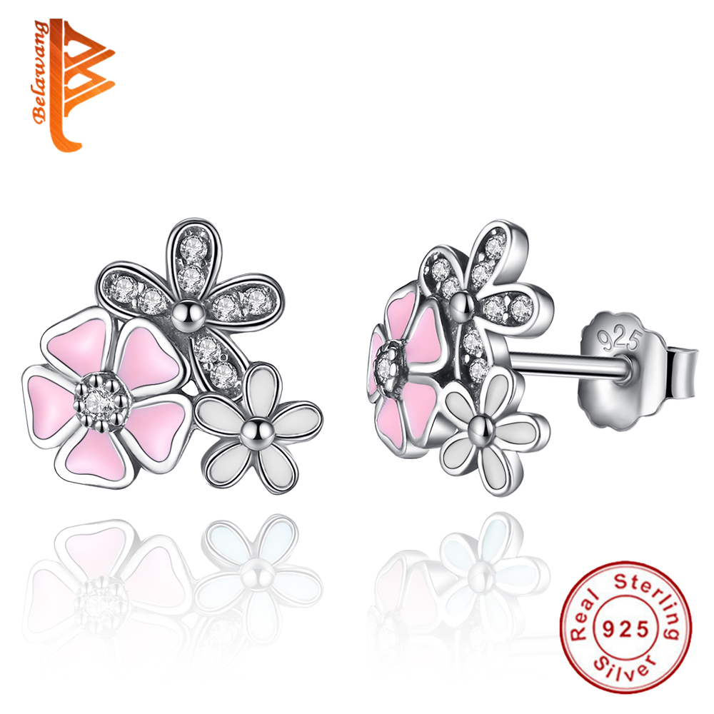 BELAWANG Real 925 Sterling Silver Cherry Blossom Stud Earrings Crystal CZ Pink Enamel Poetic Daisy Flower Earrings Women Jewelry