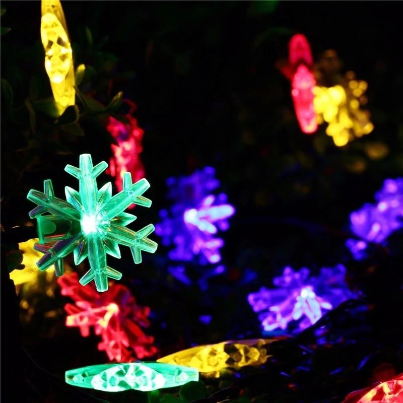 LED Snowflake Garland Light 2m / 5m / 10m LED Fairy Light Christmas Wedding Decoration Lighting Battery Flash Control