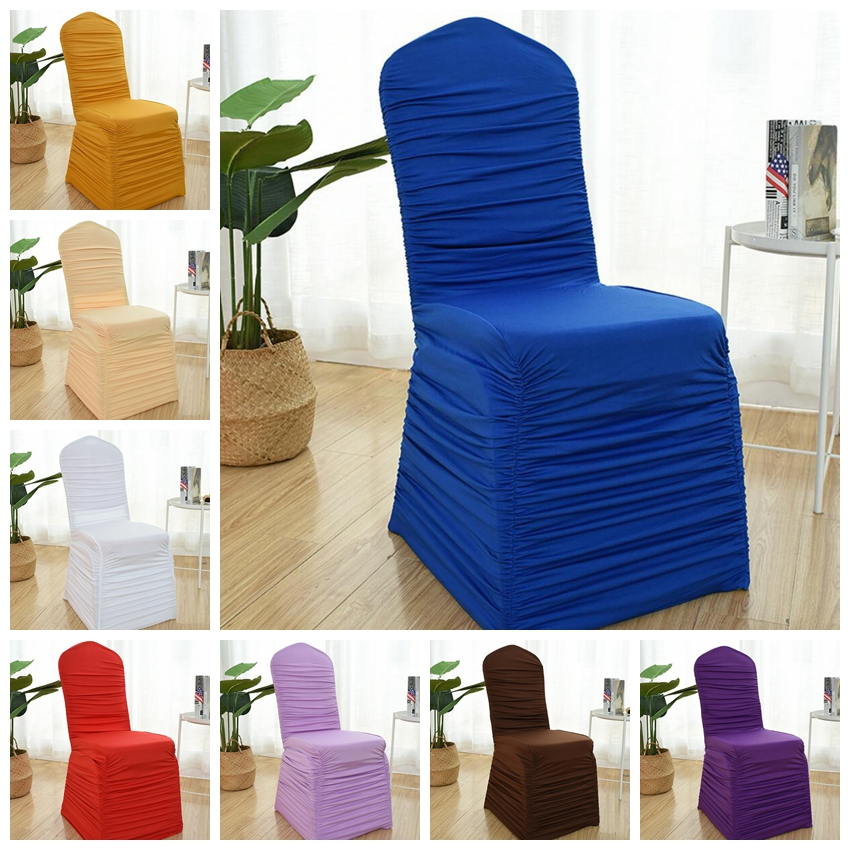 23 Colours Wedding Spandex Chair Cover Ruffled Universal Lycra Chair Cover Pleated Ruched Party Banquet Hotel Decoration