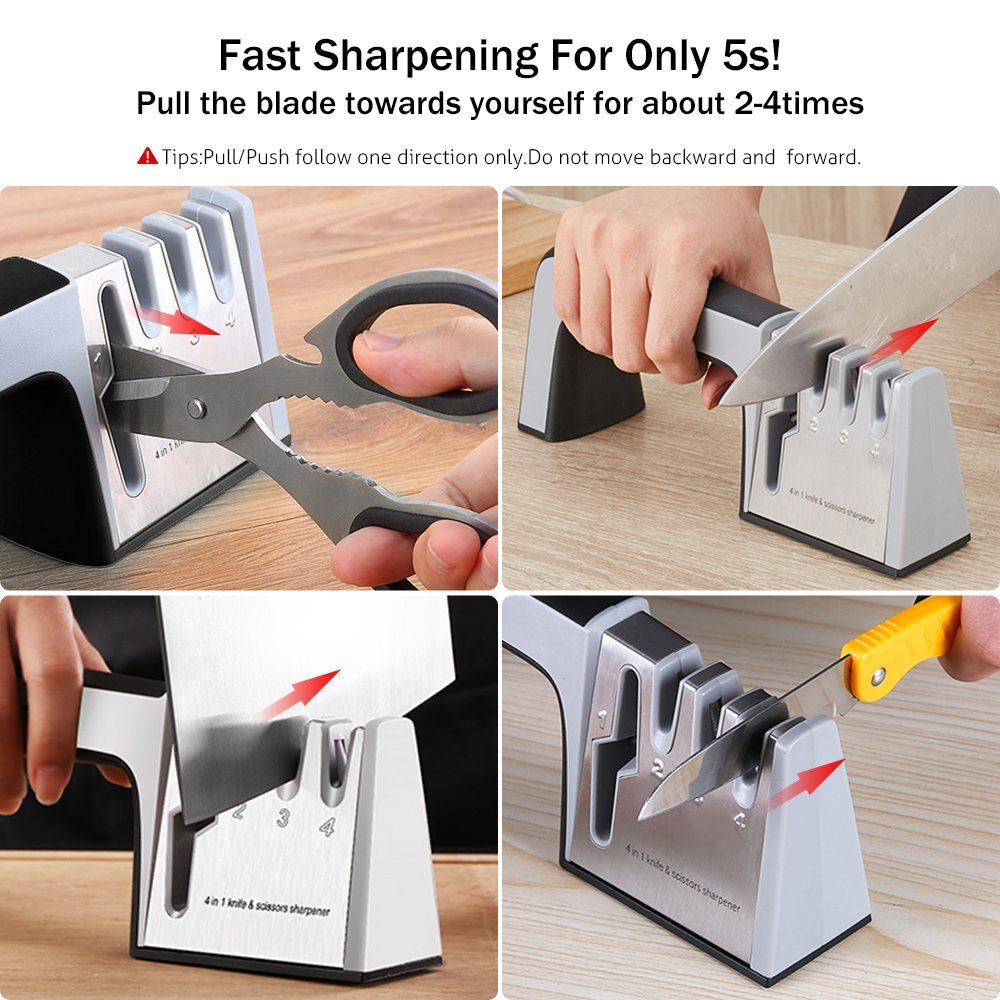Knife Sharpener 4 in 1 Diamond Coated&Fine Rod Knife Shears and Scissors Sharpening stone System Stainless Steel Blades 4