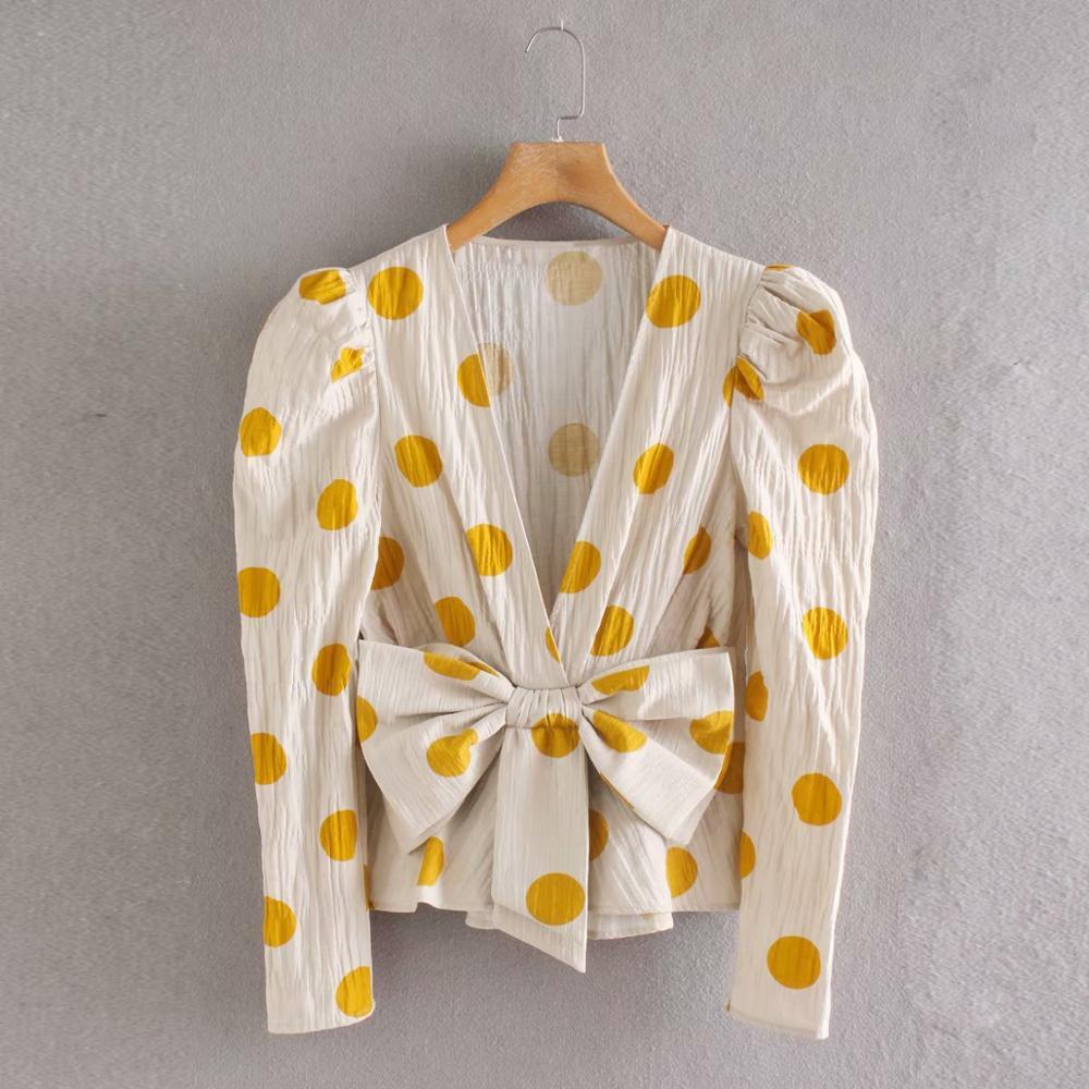 women vintage bow decoration polka dot print casual slim kimono   blouse     shirts   women chic office blusas pleat chemise tops LS6430