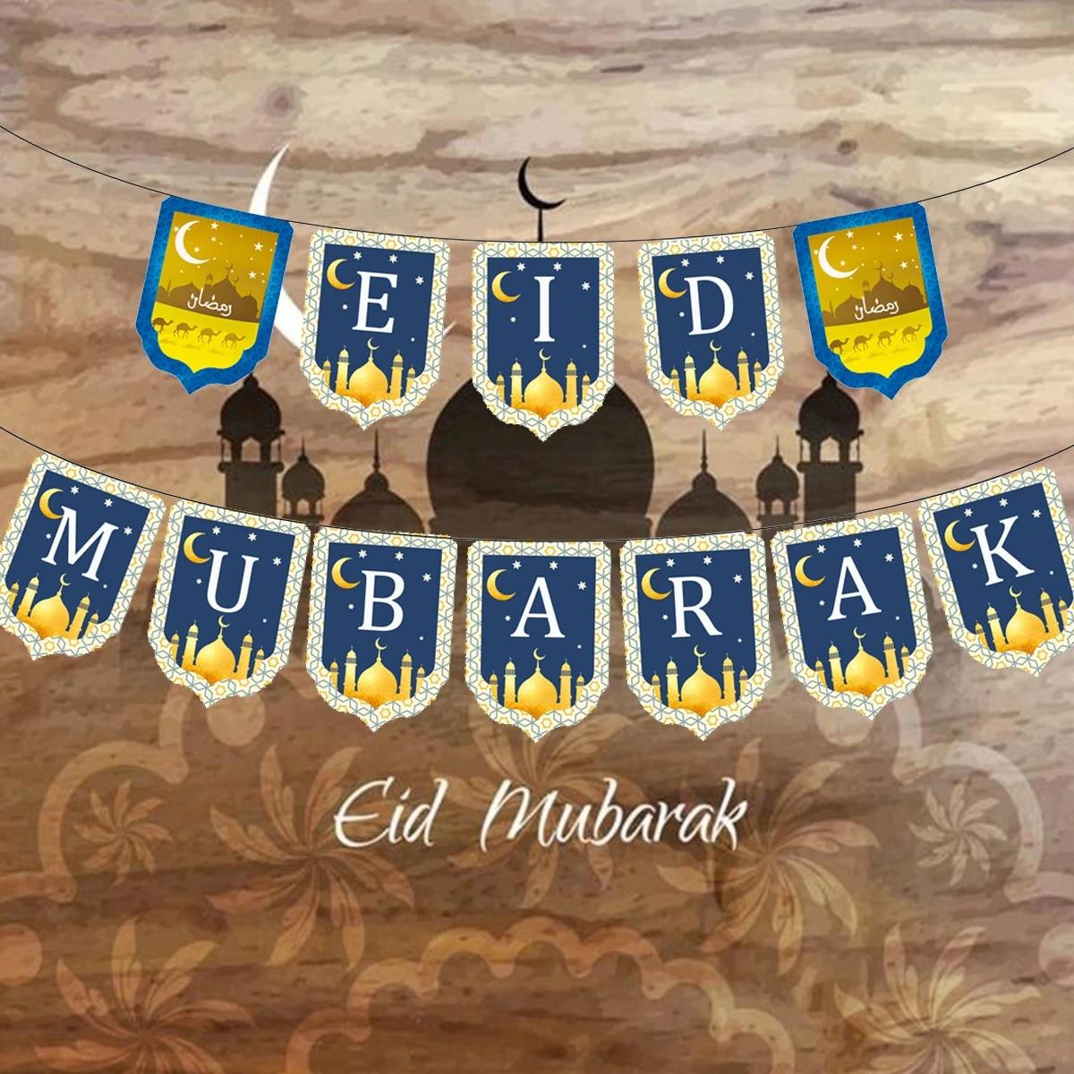 Eid Mubarak Banner Ramadan Kareem Dekorasi Wall Hanging Kertas Bendera Garland Muslim Islam Al Lebaran Haji Mubarak Perlengkapan Pesta Spanduk Pita Confetti Aliexpress