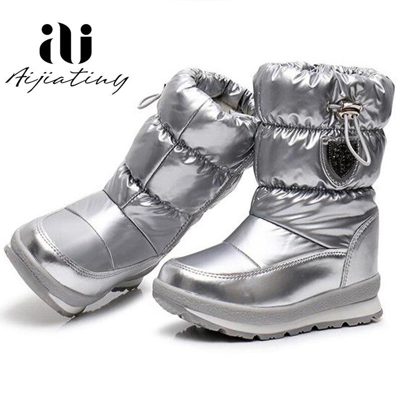 Русские детские зимние ботинки; зимняя обувь для девочек; модные шерстяные водонепроницаемые ботинки для мальчиков