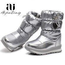 Bota de inverno infantil russa, calçado de neve para crianças, sapato feminino e masculino de lã no calcanhar, à prova d água e estiloso