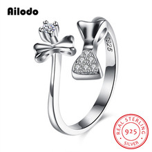 Ailodo Luxury 100% Real 925 Sterling Silver Rings For Women Double Bowknot CZ Engagement Wedding Fashion Jewelry LD316