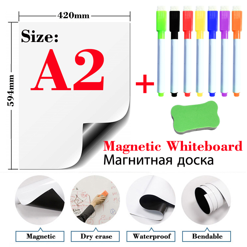 Magnetic WhiteBoard Dry Erase White Boards Fridge Stickers School Writing Drawing Message Board Marker Pens Eraser