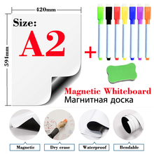 цена на Magnetic WhiteBoard Dry Erase White Boards Fridge Stickers School Writing Drawing Message Board Marker Pens Eraser