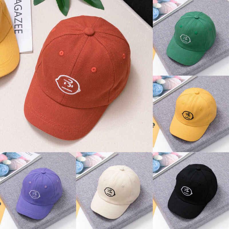 חדש לגמרי בני בנות ילדי ילדי כותנה בייסבול כובע צהוב כחול ירוק סגול שחור אדום Snapback כובע מודפס כובעי מתכוונן