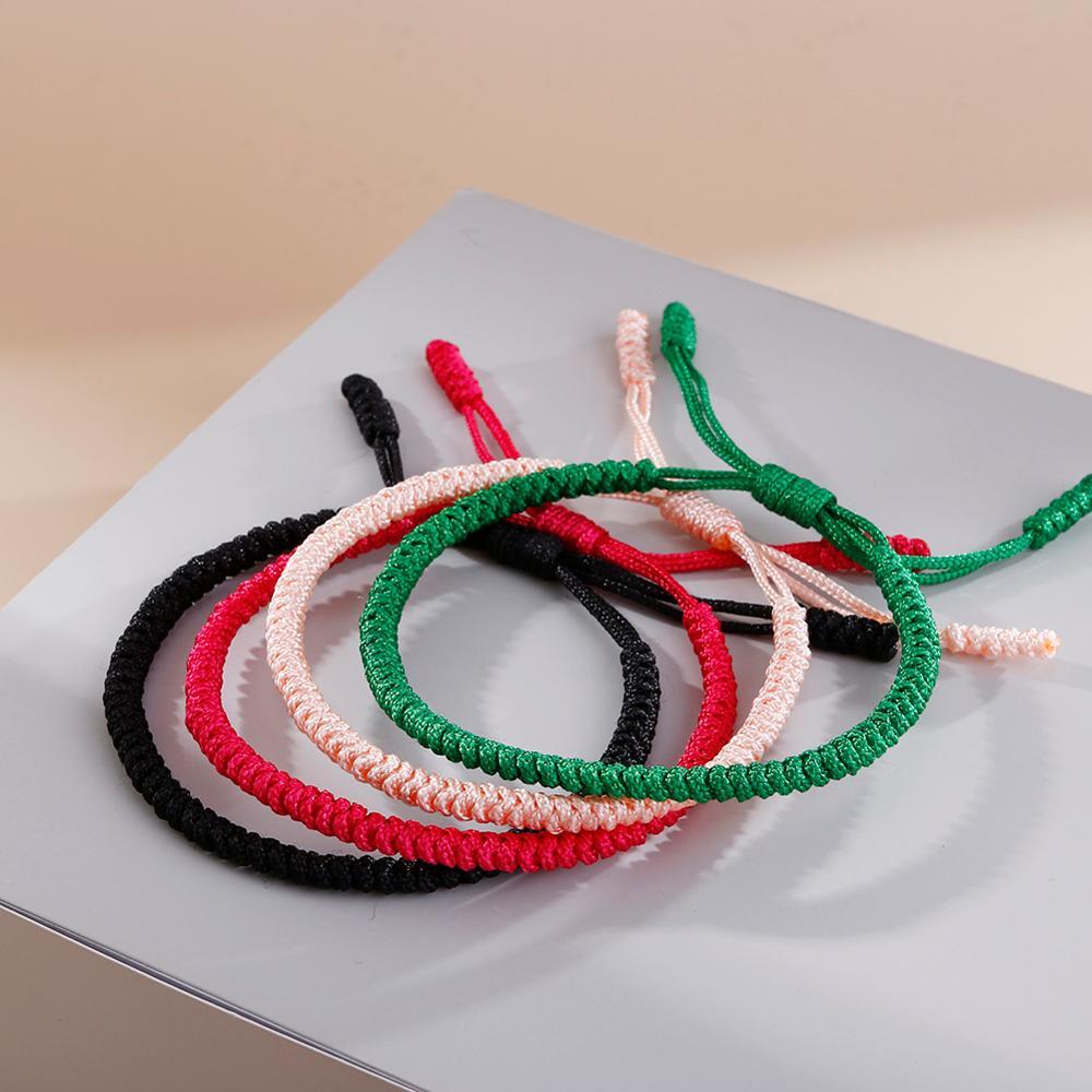 Handmade Braided Rope Lucky Red Thread Bracelet Tibetan Buddhist Handwoven Knots Bracelets Prayer Charm Jewelry Lover Wristbands