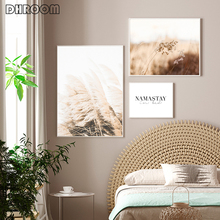 Pampas Grass Canvas Print Painting Minimalist Picture Scandinavian Namastay In Bed Quote Poster Nordic Style Bedroom Decoration