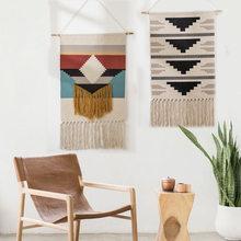 Tapisserie bohème coton lin tapisserie avec gland fait à la main Nodic Style décor à la maison géométrique mur porte décor tenture tapisserie