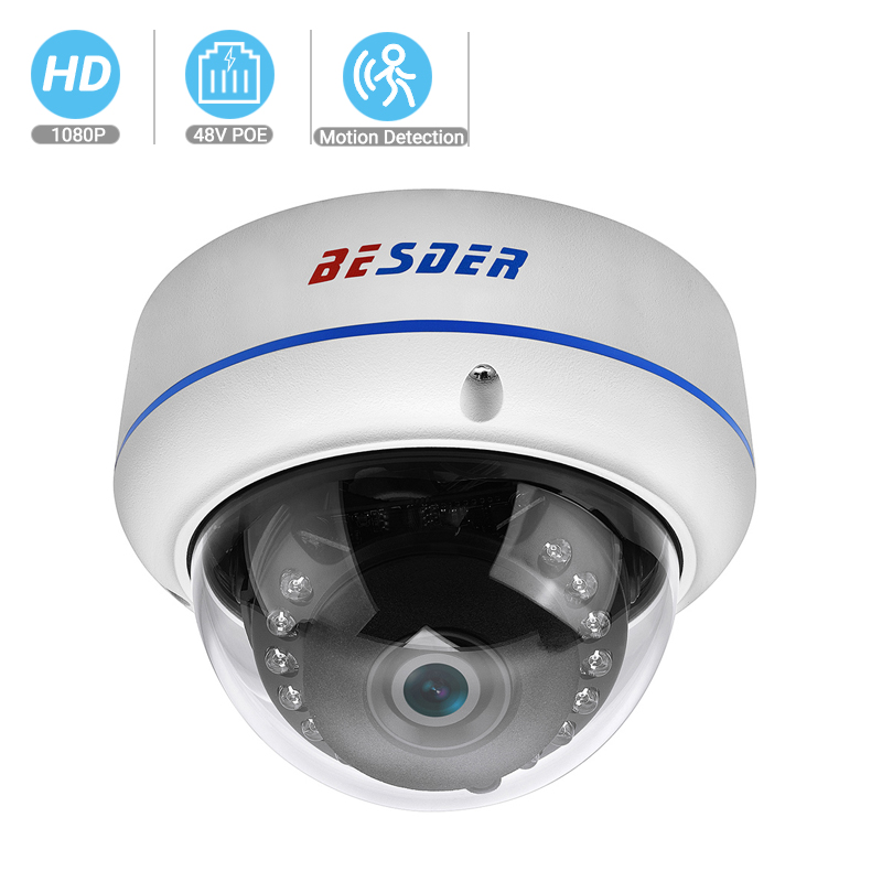 BESDER 2.8mm Wide Angle IP Camera 1080P 720P Vandal Proof Metal Case CCTV Home Security Camera Onvif P2P Motion Alarm RTSP XMEye