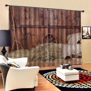 brown woods curtains Customized size Luxury Blackout 3D Window Curtains For Living Room Decoration curtains