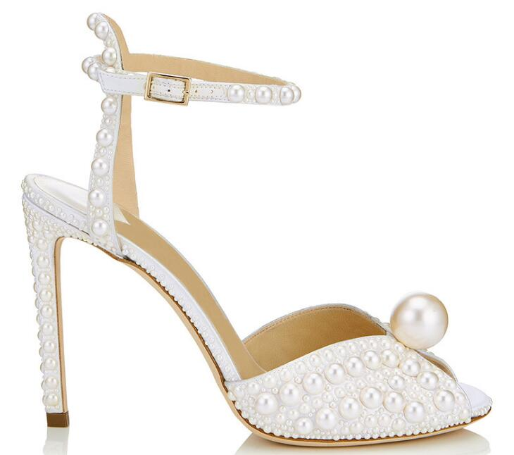 White Satin Sandals With All Over Pearls Sacora 100mm Pearl Embellished Pumps Ankle Strap Peep-toe Sandal Wedding Shoes