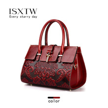 ISXTW 2019 Autumn New Retro Style Chinese Style Fashion Handbag Leather Messenger Bag Ladies First Layer Leather Black Red / D9 недорого