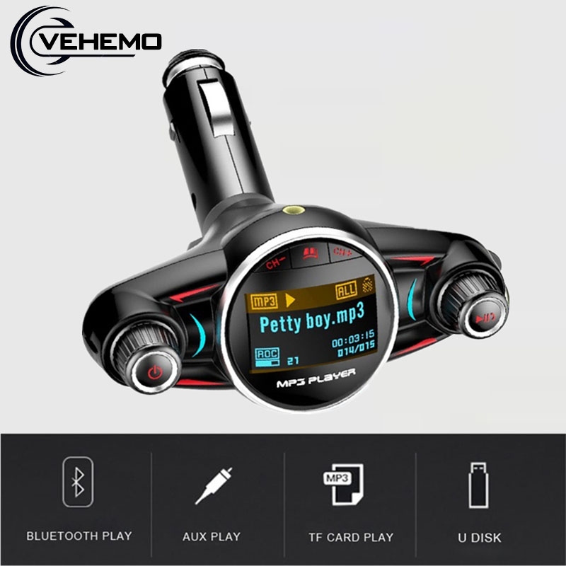 Portable Car FM Transmitter Bluetooth Handsfree MP3 Player Wireless Radio Adapter USB Charger BT08 Music Stereo TF Card Audio