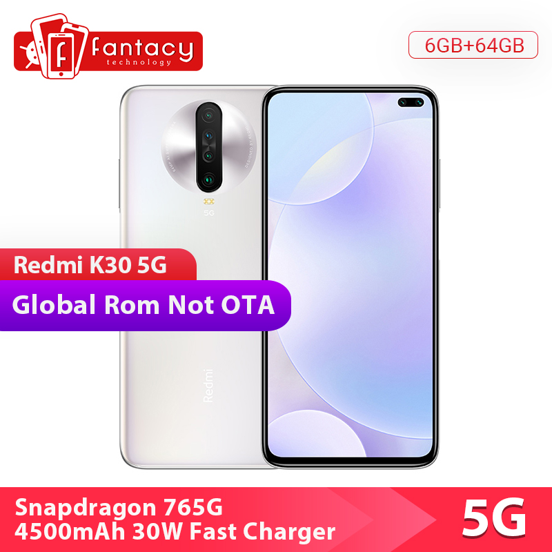 "Global Rom Xiaomi Redmi K30 5G 6GB 64GB Smartphone Snapdragon 765G Octa Core 6.67"" 64MP Quad Camera 4500mAh 120HZ Fluid Display"