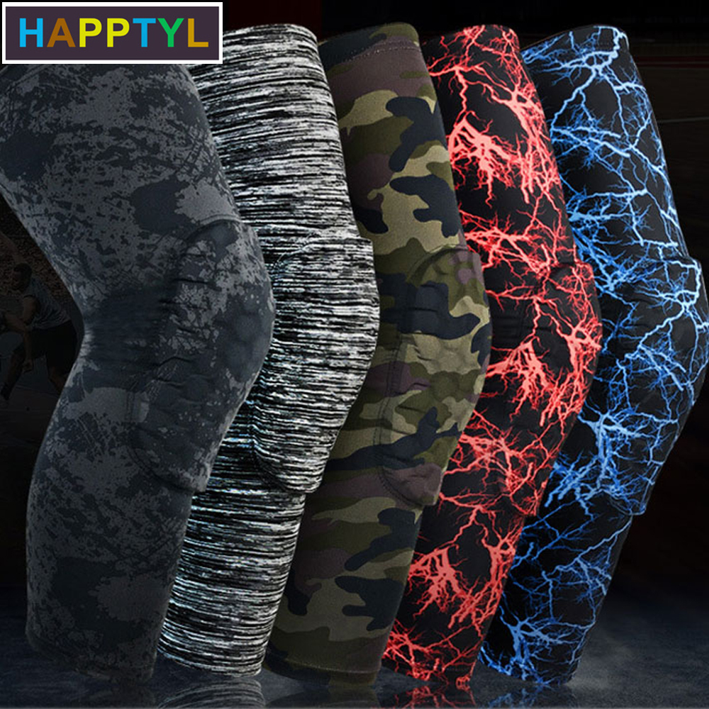 HAPPTYL 1Pcs Knee Support Brace Basketball Padded Leg Sleeve Knee Pad Protector Anti-Slip Honeycomb KneePad Youth/Kids & Adult