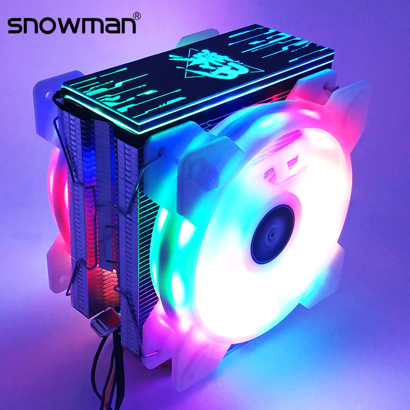 SNOWMAN 6 Heat Pipes CPU Cooler RGB 120mm PWM 4Pin For Intel LGA775 1150 1151 1155 1366 AMD AM2 AM3 AM4 CPU Cooling Fan PC Quiet
