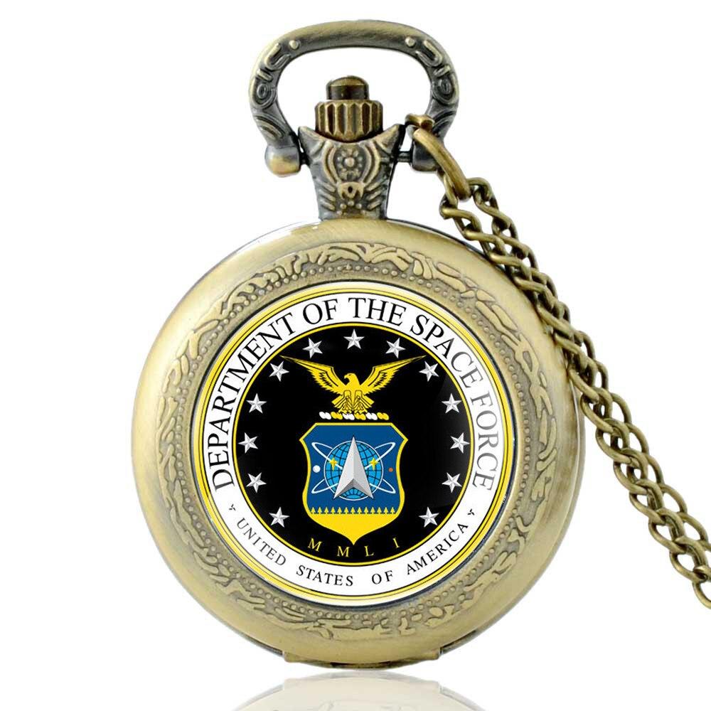 Classic Silver United States Space Force Quartz Pocket Watch Vintage Men Women Pendant Necklace Clock