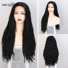Aisi Queens Long Wavy Balck Hair Synthetic Lace Front Wig for Women Sale Middle