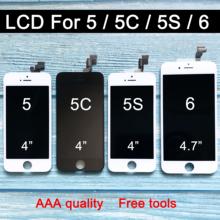 Fabryka sprzedaż wyświetlacz LCD dla iphone 6 wyświetlacz lcd dla iphone 5 5c 5s wyświetlacz LCD ekran dotykowy digitizer montaż wymiana ekranu tanie tanio BINYEAE Pojemnościowy ekran Nowy 5 5c 5s 6 1280x800 3 Black AAA High Quality In Stock Free Shipping With Tracking No