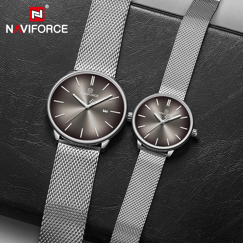 NAVIFORCE Top Brand Luxury Men Quartz Watches Women Steel Waterproof Casual Date Couple Clock Male Wrist Watch Relogio Masculino